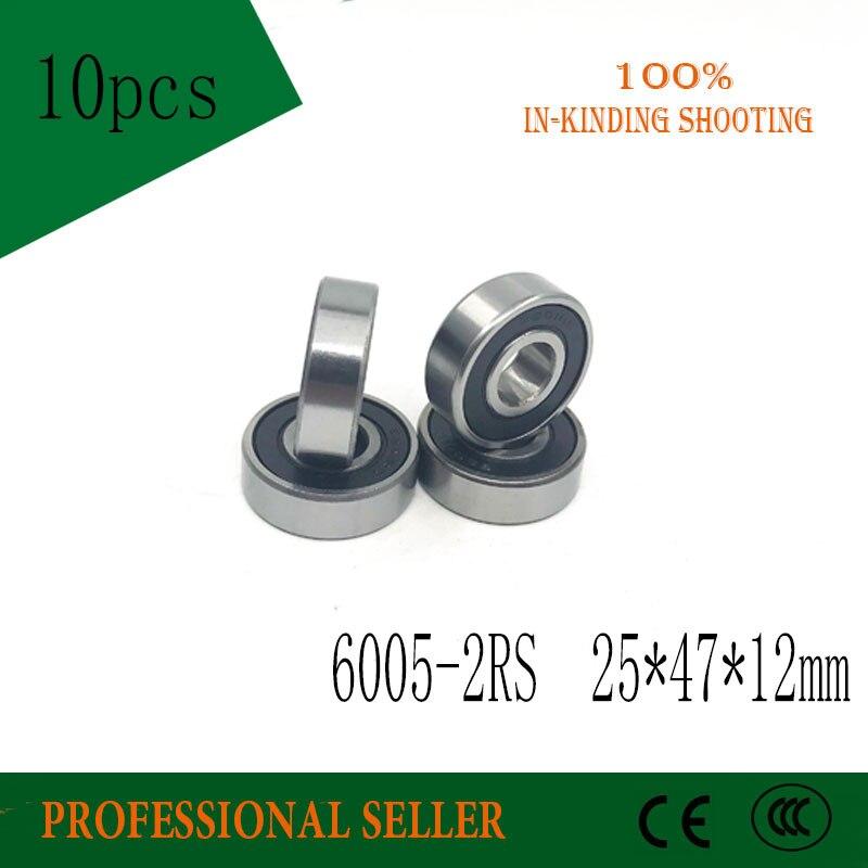 Rodamiento rígido de bolas 6005-2RS 25x47x12mm rodamiento rígido de bolas 6005RS rodamiento Sellado doble 47x25x12mm 6005 2RS 10 unidades/lote