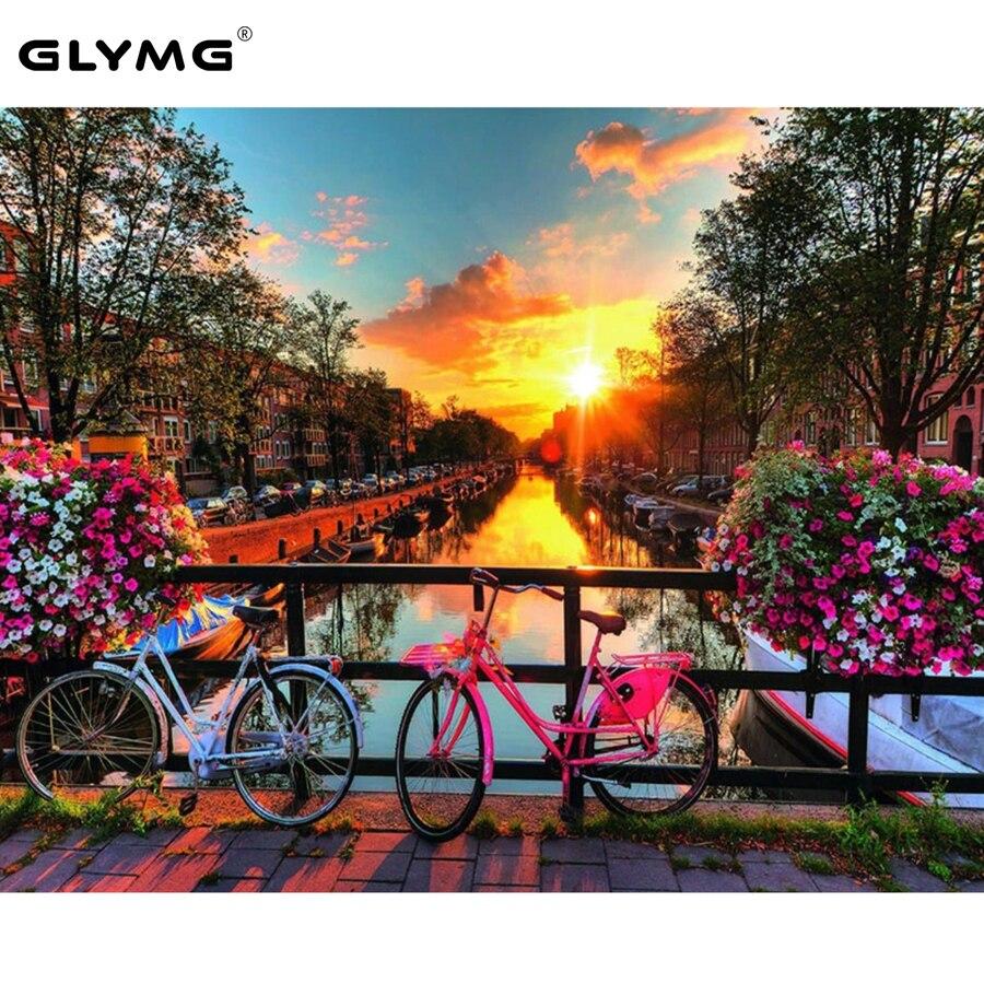 GLymg Diamante Pintura Ponto Cruz Broca Completo Cenário Do Por Do Sol Pintura Bicicleta Com Diamantes Strass Bordado Mosaico Decoração Da Sua Casa