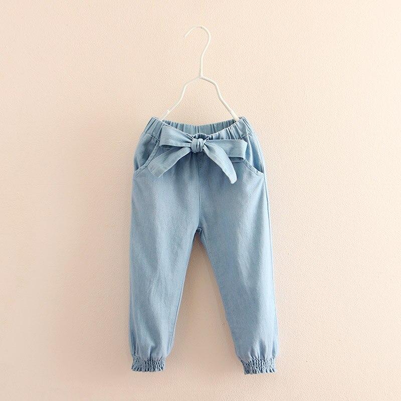 Baby Girl Jeans 2018 Casual Spring Autumn 2 3-8 9 10 11 12 Years Teenage Children Elastic Bow Lantern Denim Jeans For Girls Kids