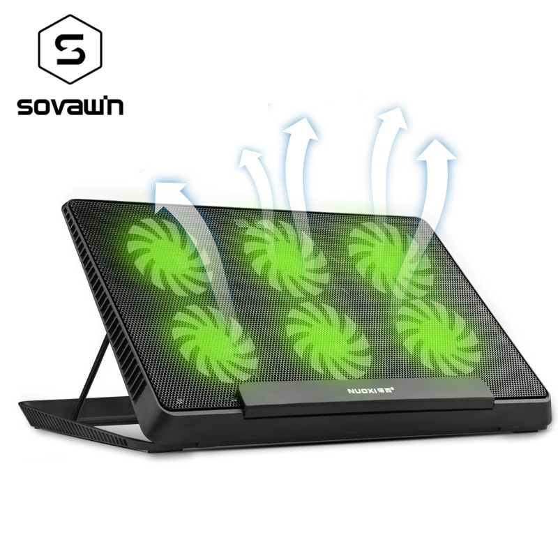 6 LED مروحة لوحة التبريد الألومنيوم مبرد كمبيوتر محمول وسادة حامل ل 17 15.6 بوصة USB برودة دفتر قاعدة حامل قابل للتعديل سرعة