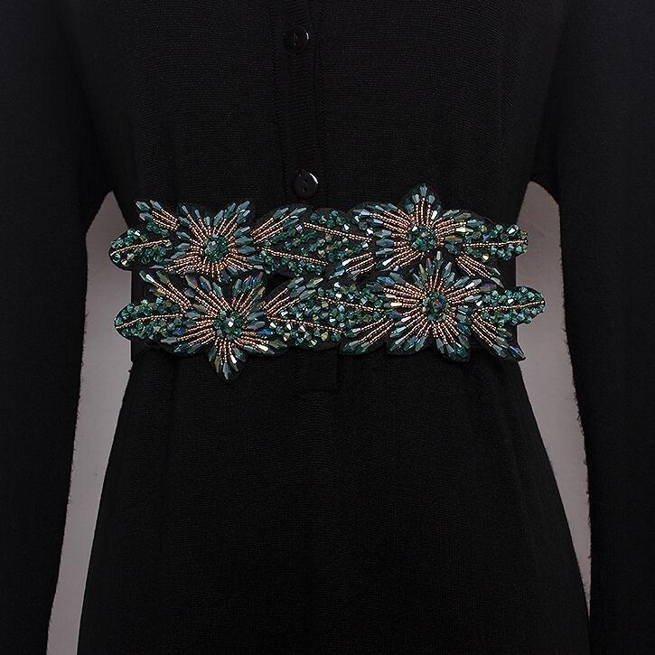 Moda de pasarela de mujer diamantes con cuentas elástico Cummerbunds vestido de mujer corsés cinturones de cintura decoración cinturón ancho R1696