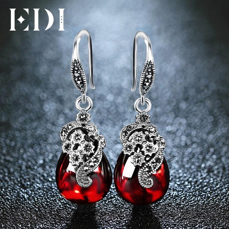 EDI драгоценный камень 100% Серебро 925 пробы гранат Длинные Винтажные серьги 3,9*1,3 см агат халцедон цветок серьги для женщин