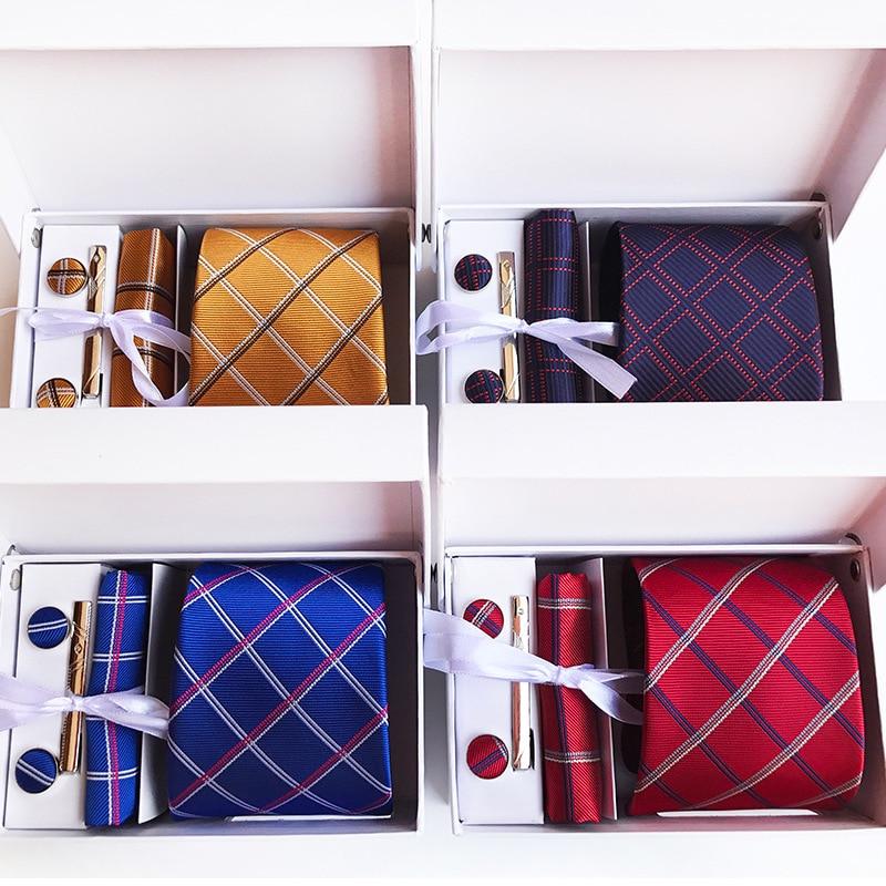 18 colores corbata para hombre 100% corbata de seda Jacquard conjunto Formal Clip en caja de regalo