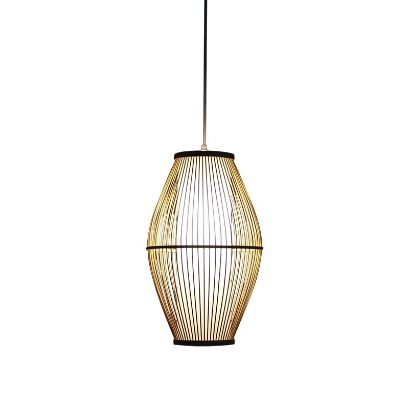 Lámpara colgante japonesa de bambú, lámpara colgante de un solo cabezal para restaurante, lámpara china, lámparas de sala de estar, iluminación de mesita de noche