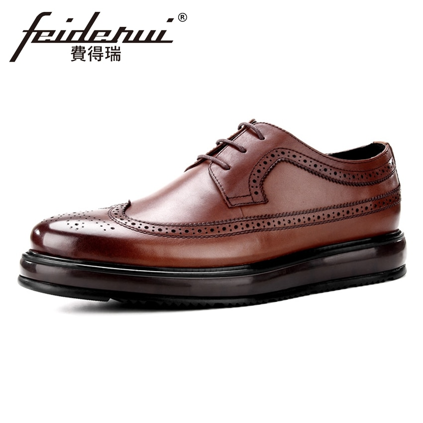 Vintage Genuine Leather Wingtip Men's Oxfords Formal Dress Round Toe Man Flat Platforms British Designer Male Brogue Shoes BQL80