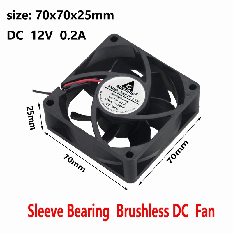 Gdstime 5 Pcs 7025s DC 12V Cooling Fan 70mm x 25mm 2Pin PC Computer CPU VGA Heatsink Brushless Cooler 70x70x25mm 7cm