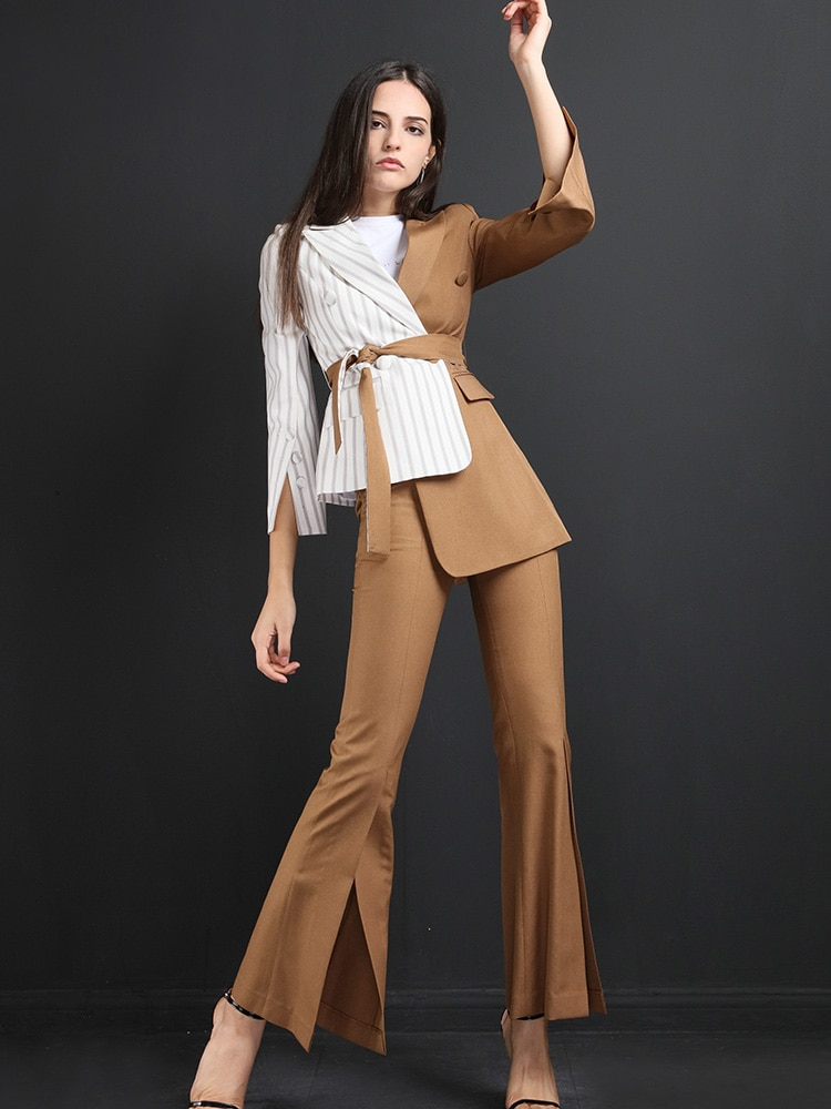 High quality women suits pants suit  Blazer Jacket & Pencil Pant Female Suit Autumn