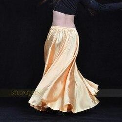 Saia para dança do ventre feminina, saia longa de cetim brilhante, saia espanhola balançar, 14 cores disponíveis