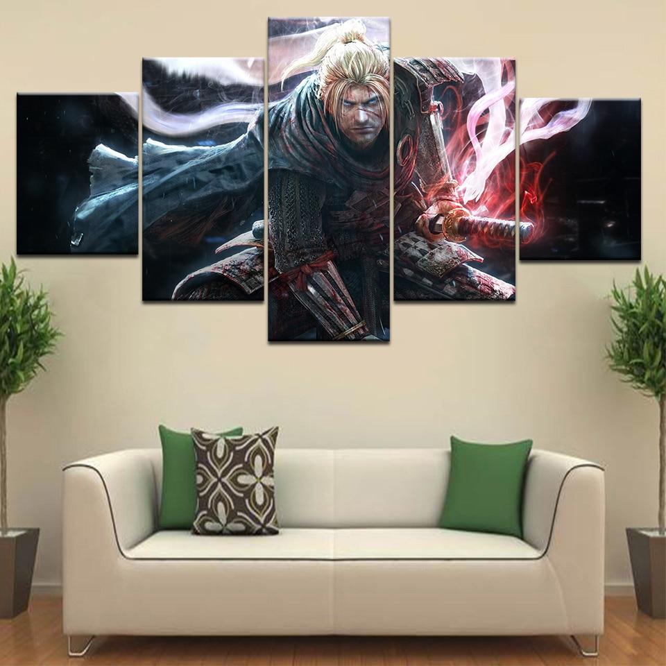 Nioh personagem do jogo ps4 espada wallpapers poster emoldurado galeria envoltório arte impressão moderna sala de estar decoração casa parede 5 painel imagem