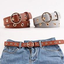 2020 PU Leather Belt For Women Golden Round Hole Pin Buckle Jeans Black Belt Luxury Brand Ladies Vin