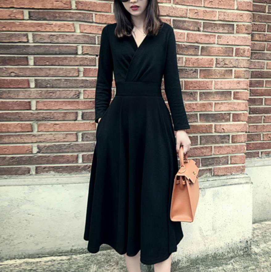 Talla grande 2XL! negro de manga larga con cuello en V vestido de cintura alta mujeres temperamento delgado de manga larga a-line drss