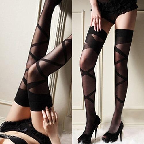 Thigh High Stocking Women Fashion Sexy girl Female Hosiery Lace Top Thigh-Highs Stripes Black Stockings Socks Drop shipping
