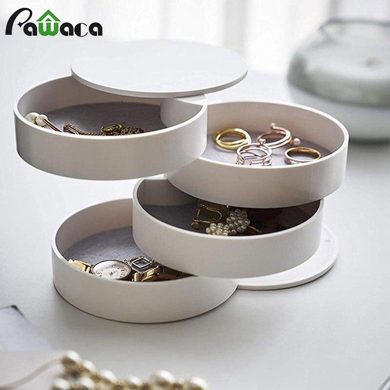 Caja de almacenamiento de joyería de 4 capas, Sostenedor rotatorio de 360 grados, organizador de joyería para pendientes, pulsera de goma, organizador de artículos pequeños