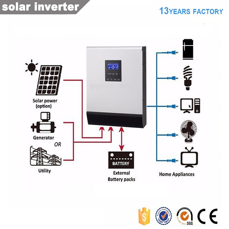 Inversor solar híbrido fuera de red 3kva controlador de carga solar 60A DC24V 220V/nave MPPT integrada de SAO PAULO