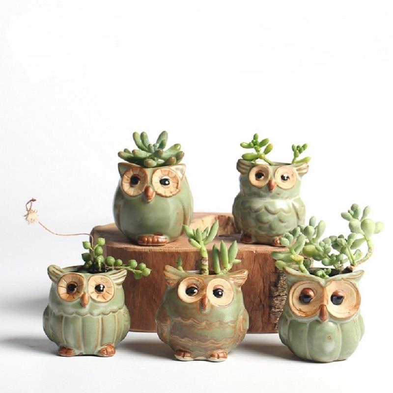 5Pcs/Set Ceramic Owl Shape Garden Flower Pot Desk Plant Pot Creative Design Succulent Planter Pot Home Garden Decoration outdoor