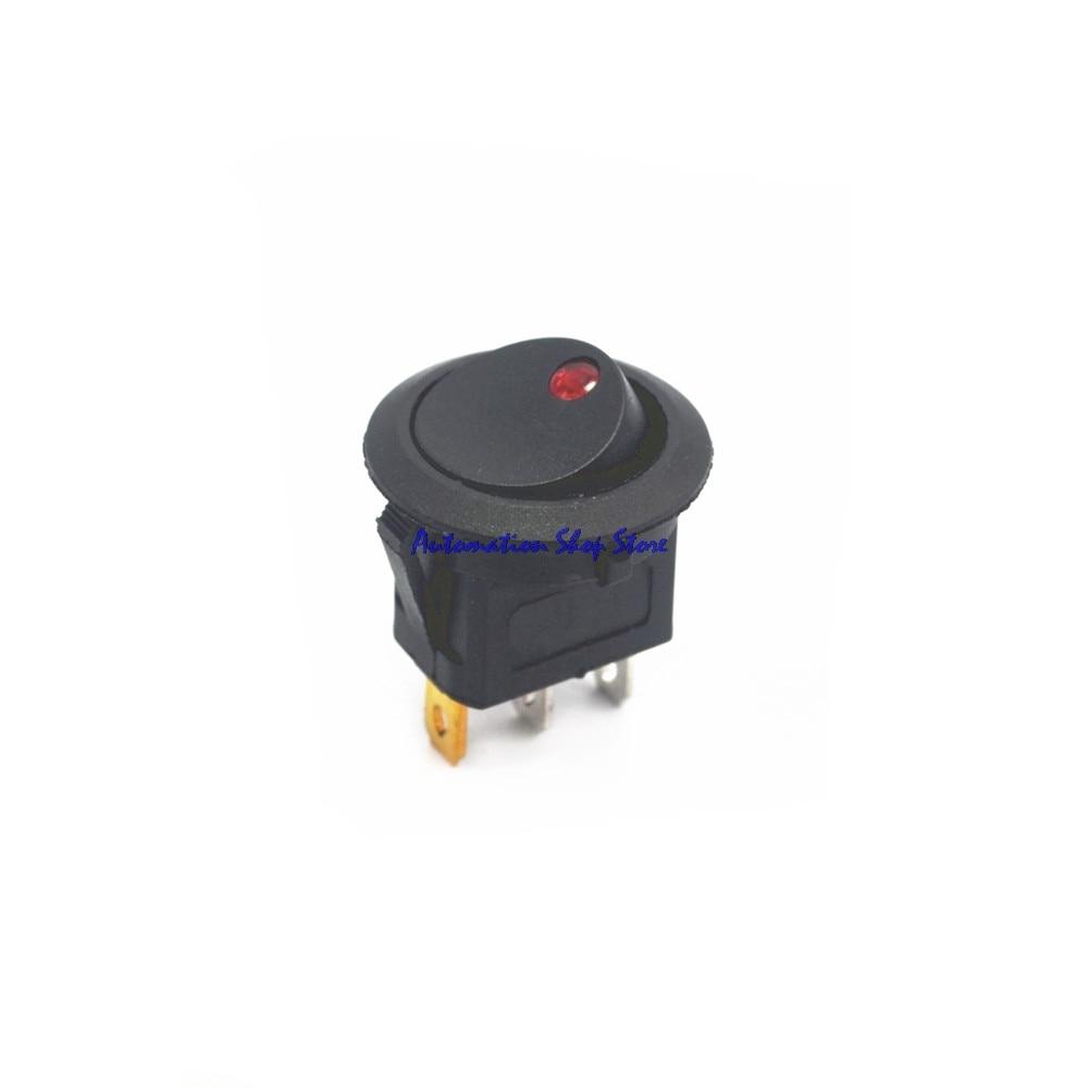 5 uds. Interruptor de encendido/apagado para coche, 12V DC, redondo Rocker Dot Boat, luz LED roja, ON