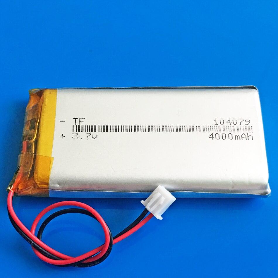 Batería recargable de polímero de litio li-po 104079 3,7 V 4000mAh JST XHR 2,54mm 2 pines para GPS DVD PAD tablet pc portátil banco de energía