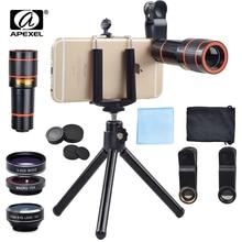 APEXEL 6 dans 1 trépied 12X Zoom Télescope Fisheye Large Ange Macro Lentille Kit Pour Tous Les smartphone Pour iPhone Samsung redmi Huawei