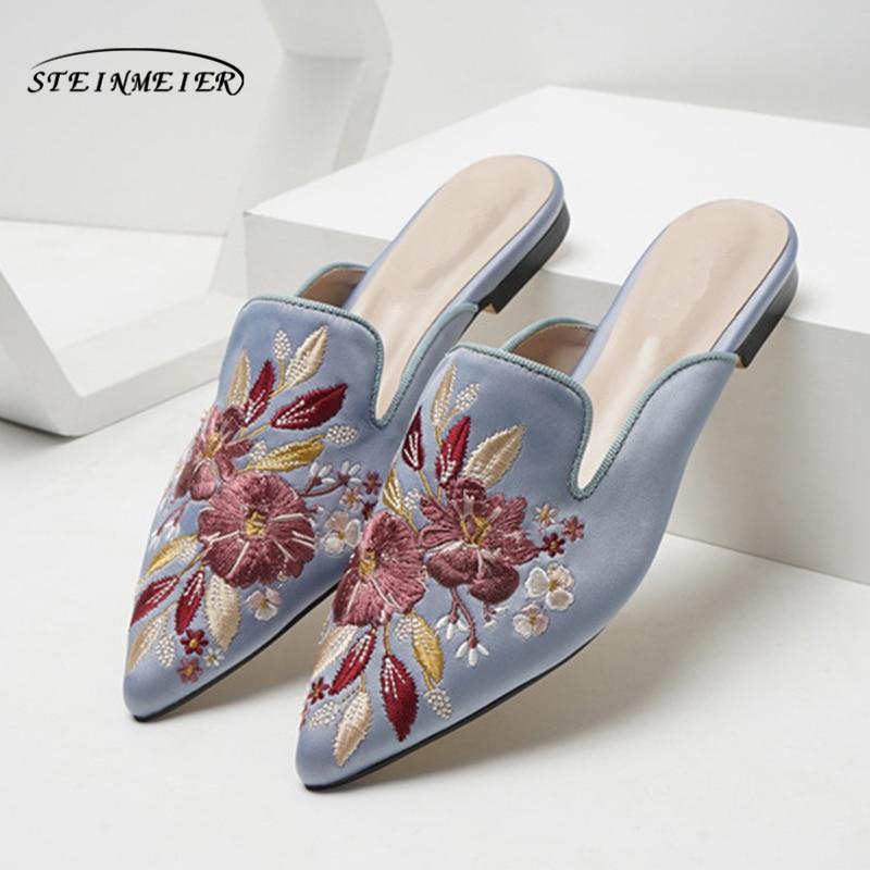 Sandalias de mujer, zapatos planos con puntera bordada, zapatillas de verano de gamuza para mujer, zapatos para mujer 2020