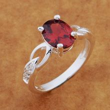 925- Sterling -Silver Ring Fashion Jewerly Ring Women&Men glittering/red stone /avlajmsa chrakyya AR566