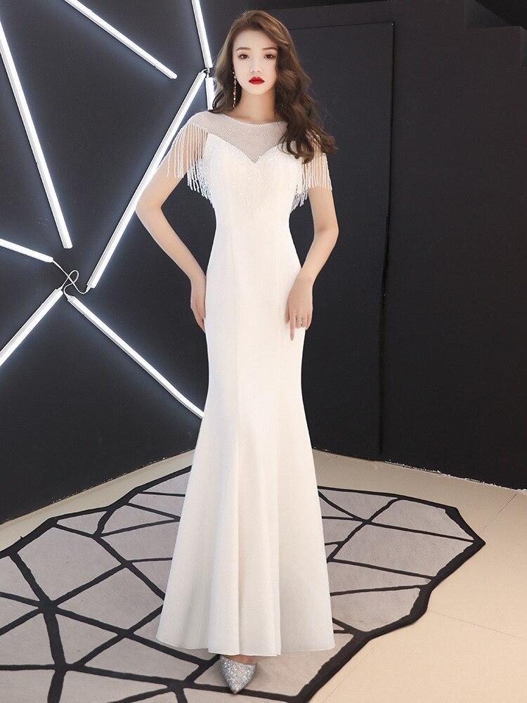 Vestido de noche de estilo chino de sirena de manga con borla, ajustado, elegante y blanco, QipaoVestidos mejorados de talla S-XXXL
