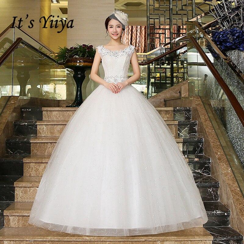 It's YiiYa-فستان زفاف أنيق ، ياقة دائرية ، بلا أكمام ، برباط ، طول الأرض ، ثوب كرة الزفاف ، HS216