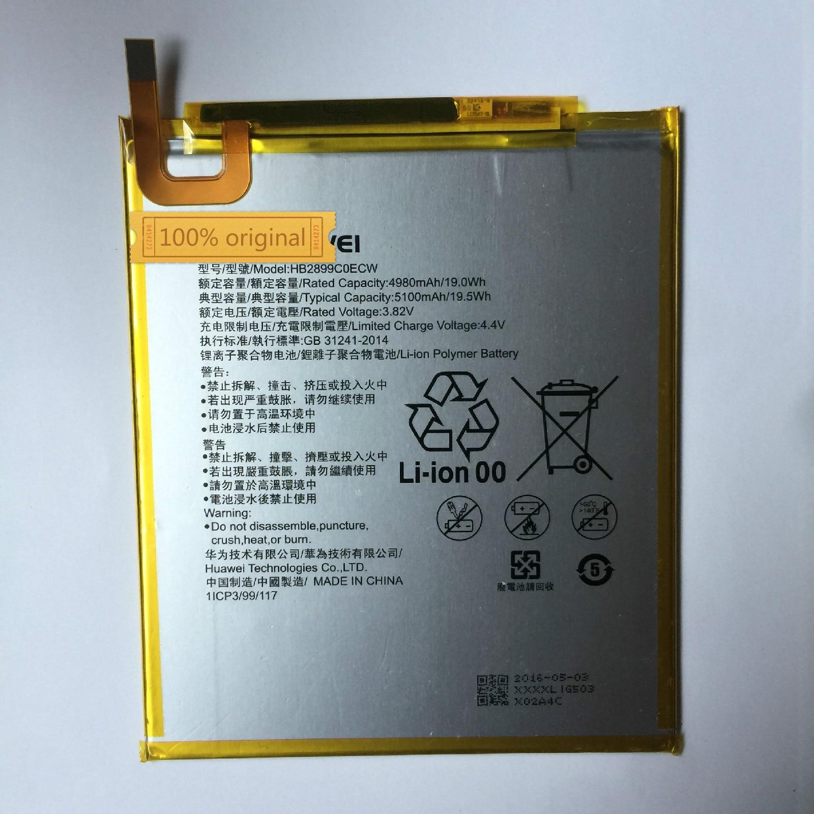3.82V 4980mAh Bateria HB2899C0ECW Para Huawei M3 M3-BTV-W09 M3-BTV-DL09