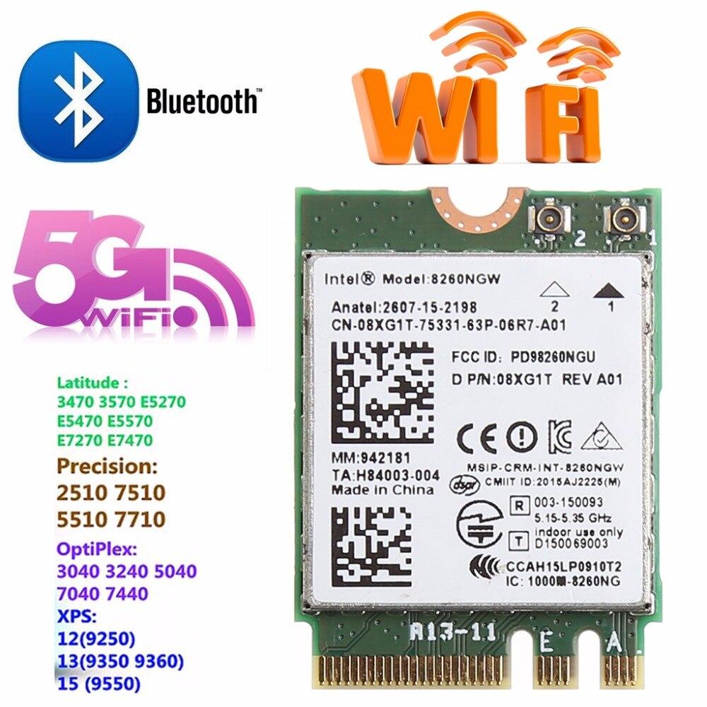 tablet-Dual Band 2.4+5GHZ 867M Bluetooth V4.2 NGFF M.2 WLAN Wifi Wireless Card Module For Intel 8260 AC DELL 8260NGW DP/N 08XJ1T