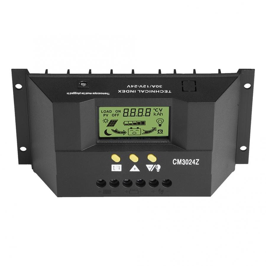 Regulador de carga del Panel Solar inteligente de 12V 24V PWM regulador de carga LCD pantalla 30A regulador de carga Solar