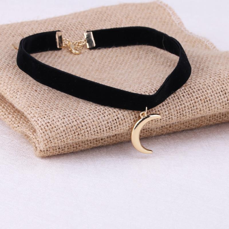1Pc New Arrival 3D Moon Pendant Black Korea Velvet Rope Choker Collar Necklace Female Collier Bijoux Girls Gift