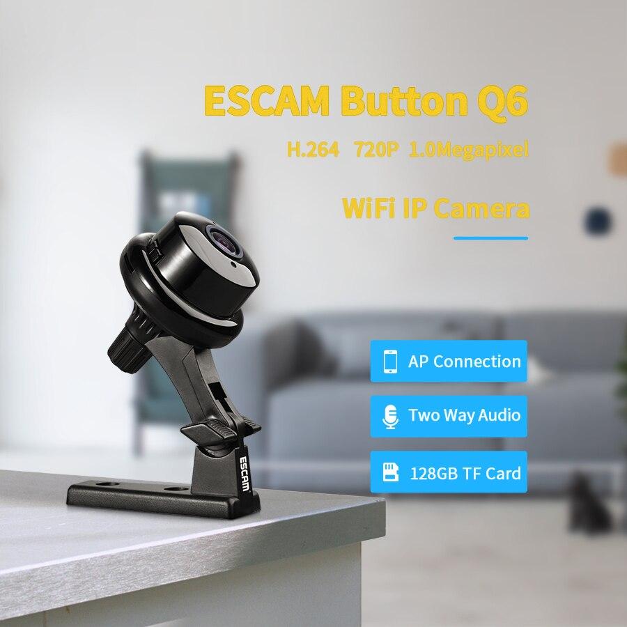 Botão Q6 1MP Escam HD 720P Mini Câmera IP WIFI Interior Infravermelho Day/Night Vision Onvif Suporte de detecção de Movimento detecção de Max Cartão de 128GB