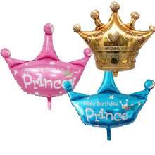 Ballons princesse couronne à feuille rose bleu jaune   Décoration de fête prénatale anniversaire pour garçons et filles, fournitures pour premier anniversaire