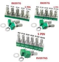Libera La Nave 5 PCS RK097G RK097N B5K B10K B20K B50K B100K B500K RV097NS Doppio potenziometro 3pin 5pin 6pin 3/ 5/6/P/Piedi/pin 15 millimetri