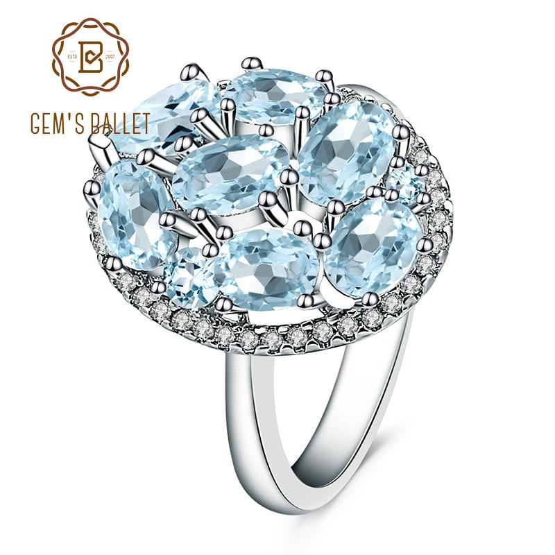 Anillo de Plata de Ley 925 auténtica de Gems Ballet, anillo de piedras preciosas de Topacio azul cielo Natural de 3,8 CT para mujeres, joyería fina de compromiso