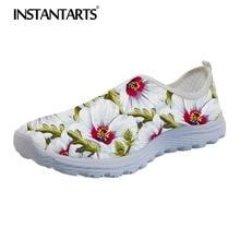 INSTANTARTS nouvelle-zélande imprimé Floral femmes chaussures décontractées été respirant femme chaussures femme sans lacet appartements baskets maille appartements