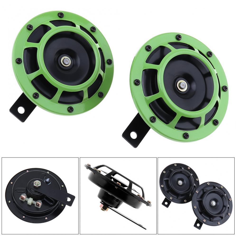 2 uds 12V 4A 139dB negro/Verde Super fuerte rejilla montaje trompeta eléctrica compacta explosión doble tono cuerno para coche/motocicleta