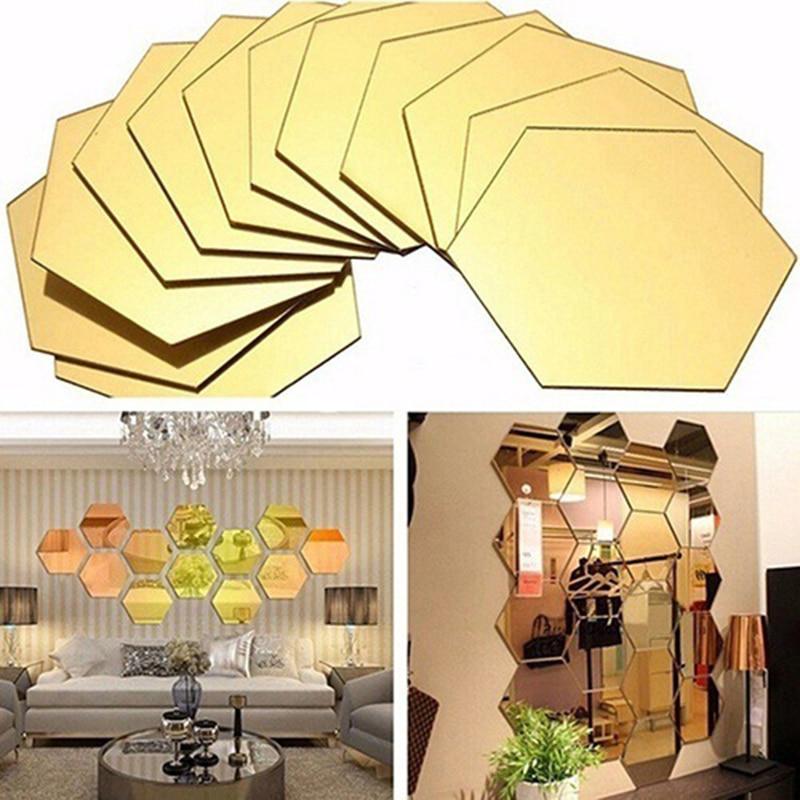 Новинка, 12 шт./компл., 3D шестиугольник, акриловая зеркальная поверхность, настенные наклейки, домашний зеркальный декор, декоративное искусс...