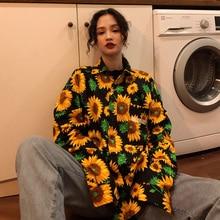 2019 Nieuwe Harajuku Ulzzang Shirt Japanse Vriendje Losse Retro Zonnebloem Gedrukt Lange Mouwen vrouwen Polo Shirt Paar Dragen