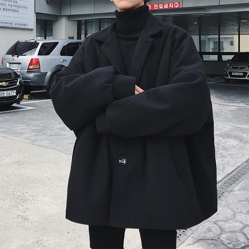 2019 Winter Mens Fashion Loose Casual Parkas Trench Black/Khaki Woolen Blends Cashmere Long Coats Cotton-padded Clothes M-2XL