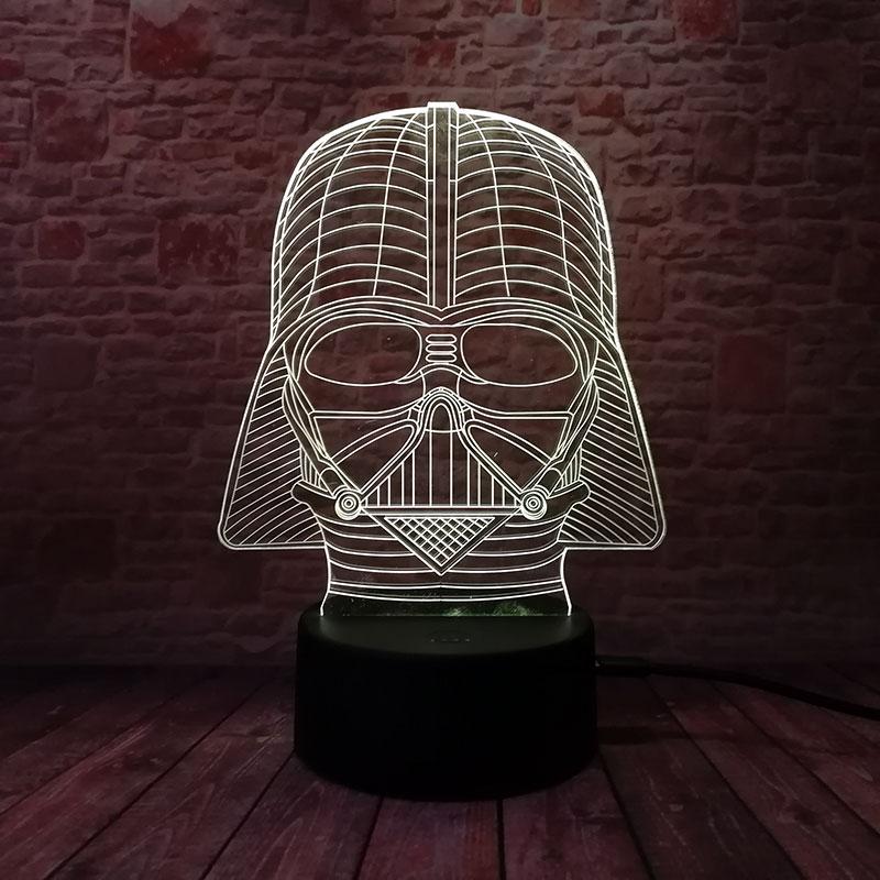 Star wars modelo figura led luminosa nightlight colorido luz de fadas brilho na noite escura darth vader capacete figura brinquedos