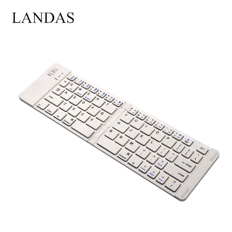 Landas Ultra Thin Pocket Mini Folding Bluetooth 3.0 Keyboard Wireless For Smart Phone USB Keyboard With Stand For iPad Tablet
