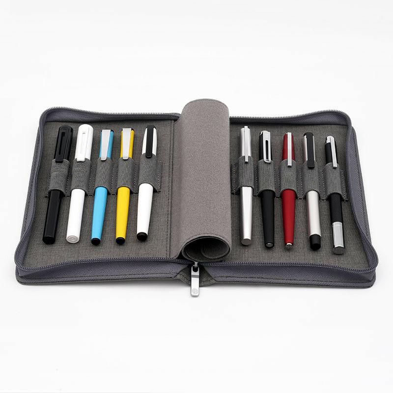 Estuche de bolígrafo Kaco, bolsa de estuche de bolígrafo, Color gris, estilo de negocios, 10 bolsillos de bolígrafo para Penbbs lamy Moonman Delike, suministros escolares de oficina