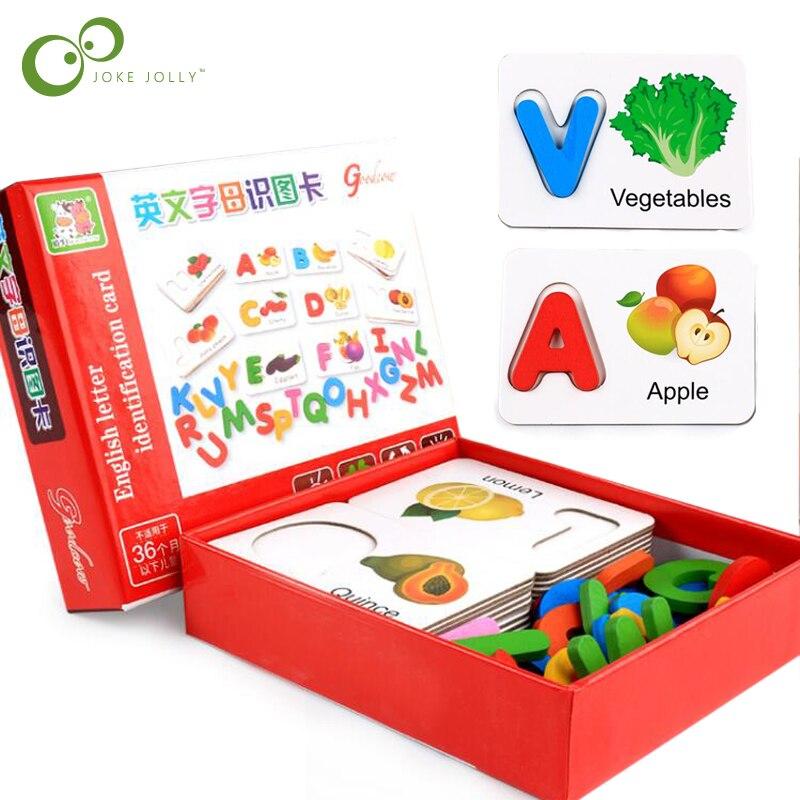 Деревянные карты для раннего образования для детей, Обучающие буквенным алфавитом ABC, познавательное образование, игрушки для детей, фруктовый пазл с рисунком овощей, GYH