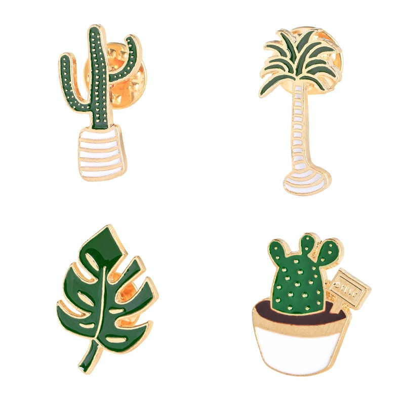 Милый значок, растительный воротник в горшках, эмалированная брошка в виде губ, кокосовое дерево, кактус, декоративные листья, одежда, Мультяшные заколки