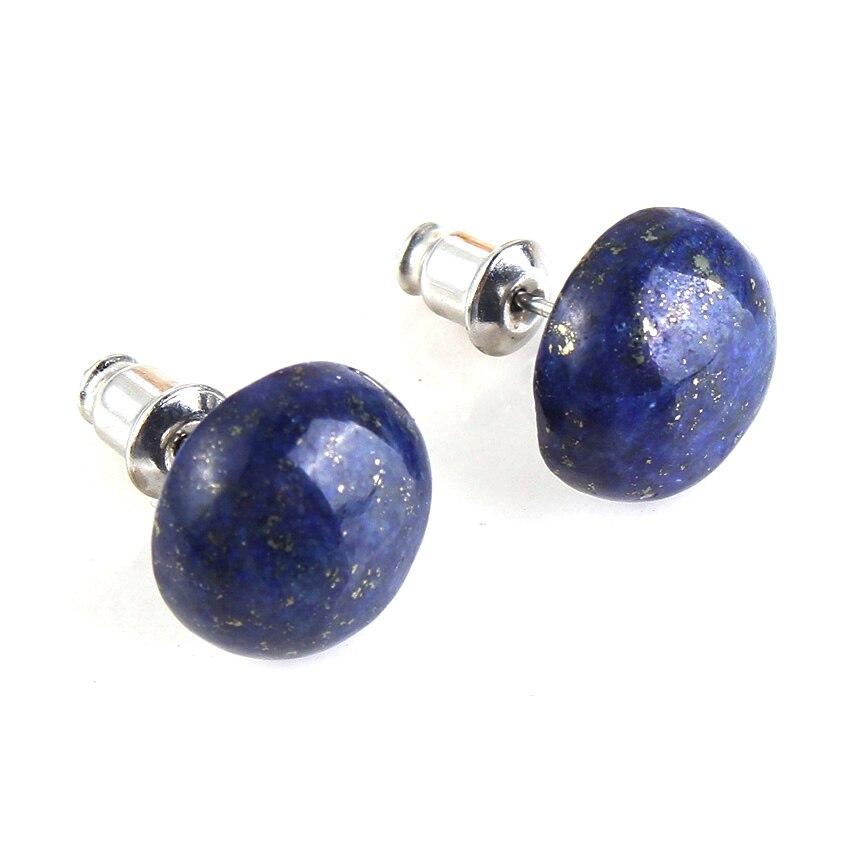 Trendy-beads New Stylish Silver Plated Lapis Lazuli Half Ball Stud Earrings For Women Charm Jewelry