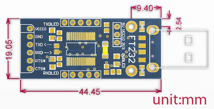 FT232 USB UART Board (Type A) FT232RL to RS232 TTL Serial USB UART Module Kit for Mac Linux Android WinCE Windows 7/8/8.1/10...
