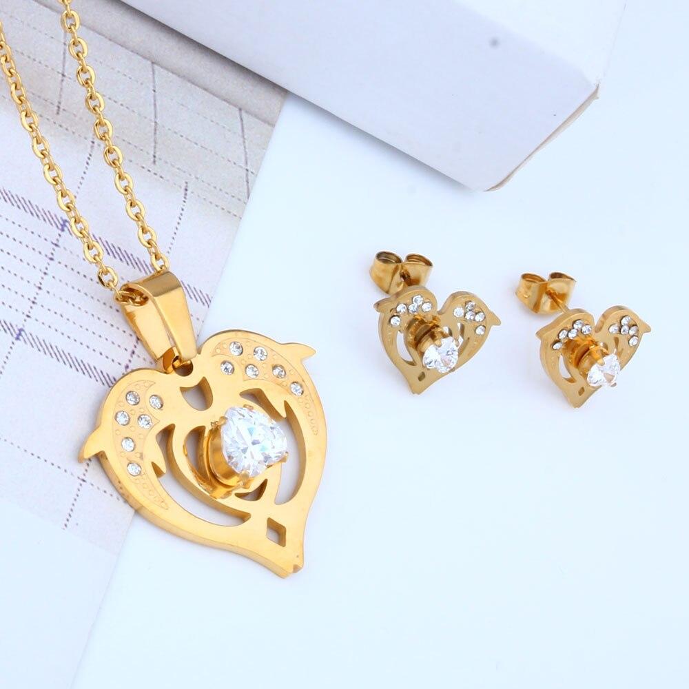 OUFEI de pescado al por mayor, joyería de acero inoxidable juegos de joyas para mujer pendiente y conjuntos de collar de moda joyería africana