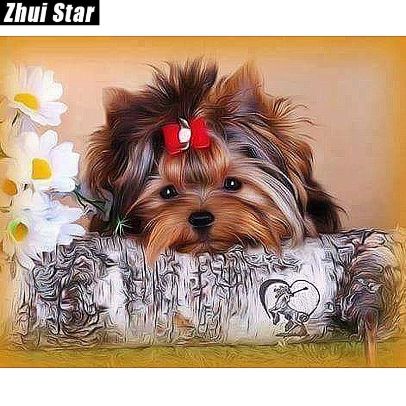 "New Full Square Diamond 5D DIY Diamond Painting ""Cute dog"" Embroidery Cross Stitch Rhinestone Mosaic Painting Home Decor Gift"