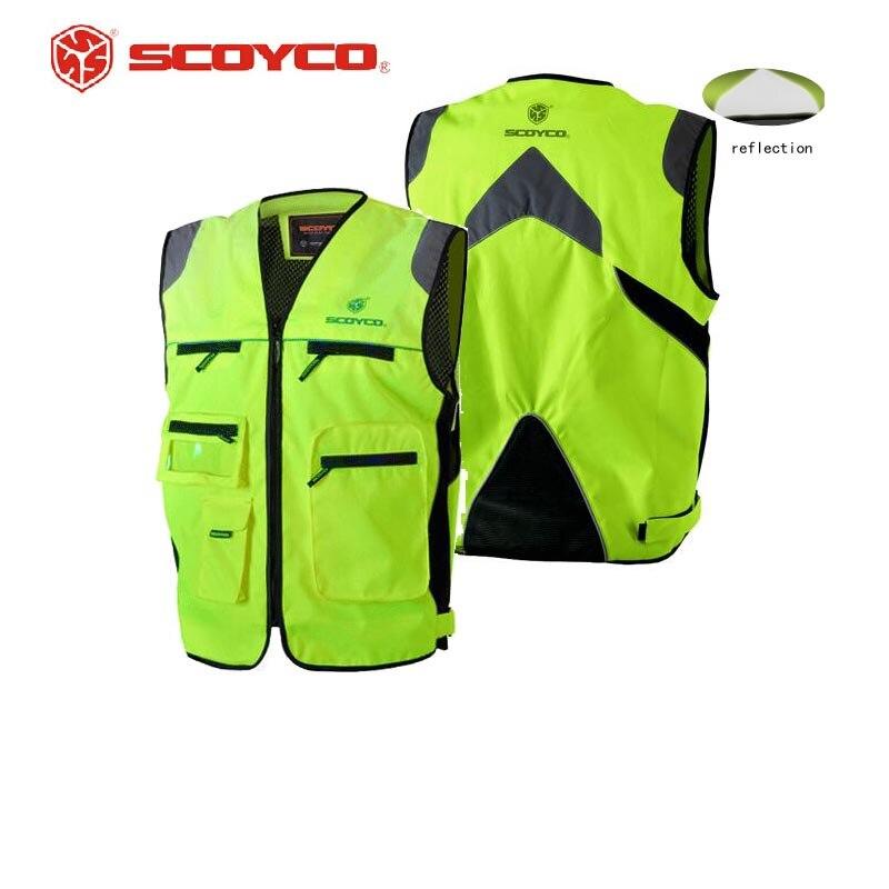 Chaqueta reflectante de motociclista SCOYCO JK30, chaleco de seguridad de alta visibilidad para motocross