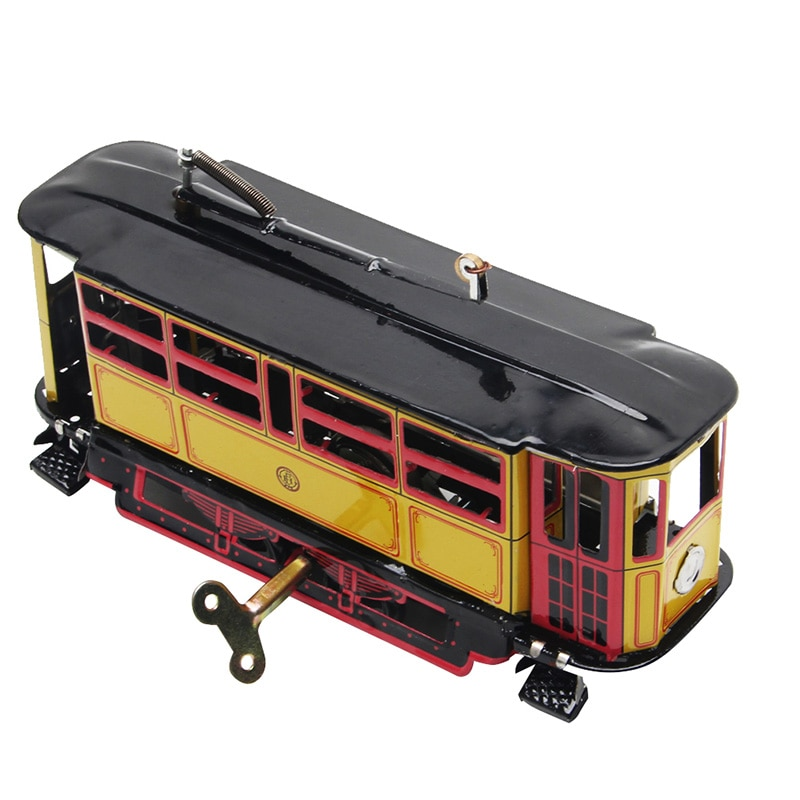Clockwork Streetcar Toy Retro Wind Up Tram Cable Bus Vintage Collection Kid Gift